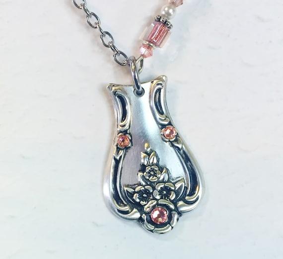 Vintage Spoon Necklace, Silverware Pendant, Peach Echo Crystals, 'Magnolia' 1951