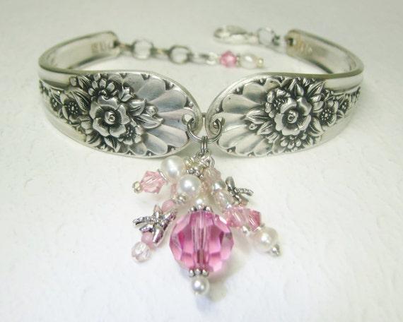 Spoon Bracelet, Pink Crystals, White Pearls, Dragonflies, Silverware Bracelet, 'Jubilee' 1953