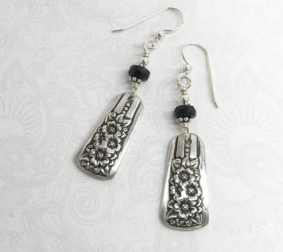 Petite Spoon Earrings, with Black Onyx, Dangle Silverware Earrings, Spoon Jewelry, 'Silver Belle' 1940