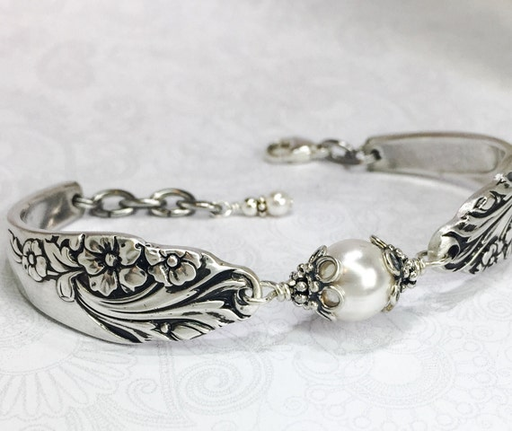 Silver Spoon Bracelet with White Crystal Pearls, Silverware Jewelry, 'Evening Star' 1950