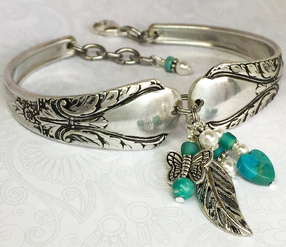 Silver Spoon Bracelet, Turquoise Heart, White Pearls, Butterfly, 'Avalon' 1940, Silverware Jewelry