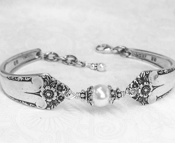 Spoon Bracelet, White Crystal Pearls, Sterling Silver Bali Bead Caps, Silverware Jewelry, Starlight 1950