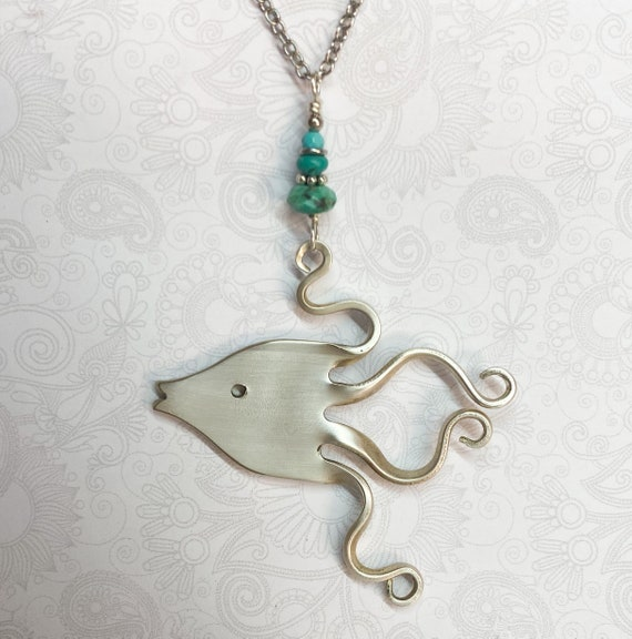Fish Fork Necklace with Genuine Turquoise, Fork Pendant, Nautical Necklace, Silverware Jewelry