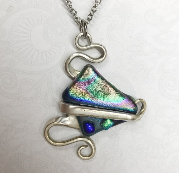 Fork Necklace Pendant, Dichroic Glass, Silverware Jewelry