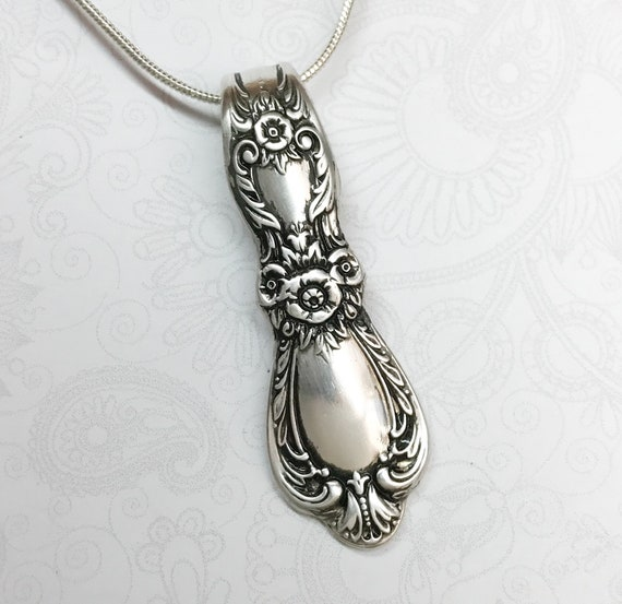 Spoon Necklace Pendant, Silverware Jewelry 'Heritage' Circa 1953