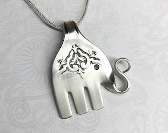Elephant Fork Necklace, Fork Pendant, Elephant Necklace, Silverware Jewelry, 'Lady Doris' 1929