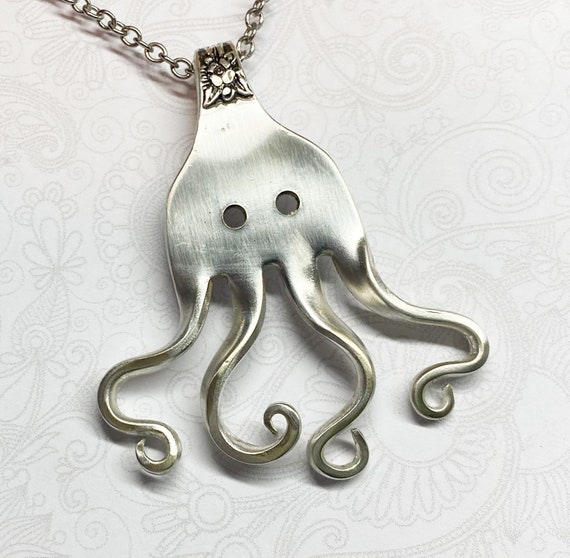 Octopus Fork Necklace, Fork Pendant, Unique Silverware Jewelry