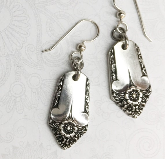 "Vintage Spoon Earrings Silverware Jewelry, ""Starlight"" 1950"