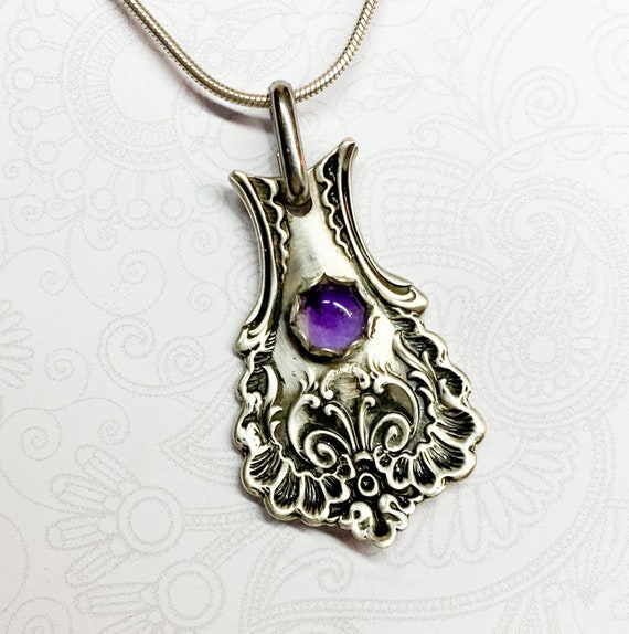Antique Sterling Silver Spoon Necklace, Amethyst, 'Pompadour' from 1888