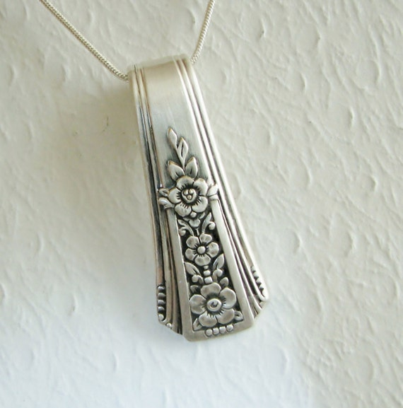 Vintage Spoon Necklace, Silverware Jewelry 'Fortune' 1939