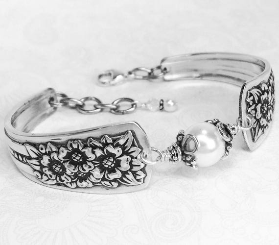 Vintage Spoon Bracelet, White Pearl, Silverware Jewelry, 'Silver Belle' 1940