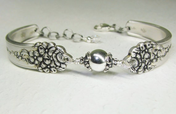 Spoon Bracelet with Sterling Silver Beads, Silverware Jewelry 'Moss Rose' 1949