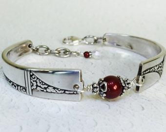 Art Deco Spoon Bracelet, Marsala Crystal Pearls, Spoon Jewelry, Silverware Jewelry, 'Caprice' 1937