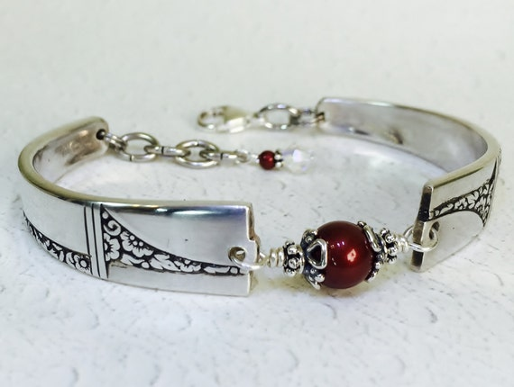 Art Deco Spoon Bracelet, Marsala Crystal Pearls, Silverware Jewelry, 'Caprice' 1937