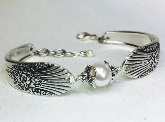 Customizable Spoon Bracelet, White Pearl, Silverware Jewelry 'Marigold' 1939
