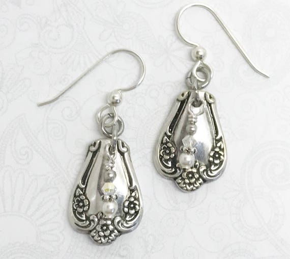 "Petite Spoon Earrings,  Silverware Jewelry, Silver Earrings, White Pearls, ""Daybreak"" 1952"