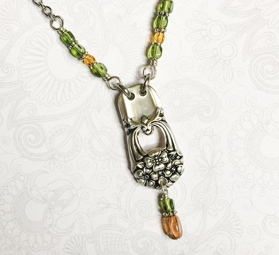 Spoon Necklace, Peridot and Amber Beads, Silverware Jewelry, 'Eternally Yours' 1941