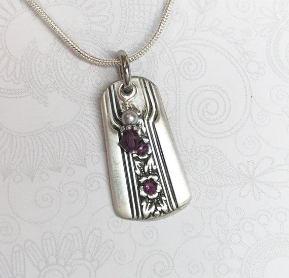 Spoon Necklace Pendant, Swarovski Amethyst Crystals, Silverware Jewelry, 'Louisiane' 1938