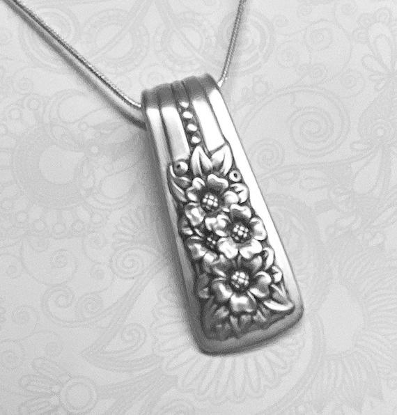 Spoon Necklace, Spoon Handle Pendant, 'Silver Belle' 1940, Silverware Jewelry