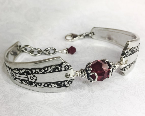 Art Deco Spoon Bracelet, Garnet Crystals, Spoon Jewelry, Customizable Birthstone Jewelry, 'Lido' 1938