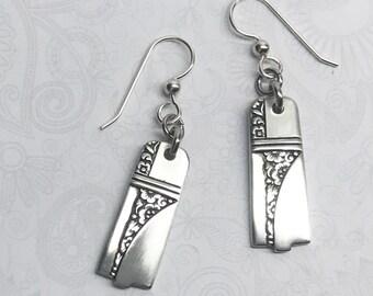"""Art Deco Spoon Earrings, Dangle Earrings, Silverware Jewelry, """"Caprice"""" 1937"""