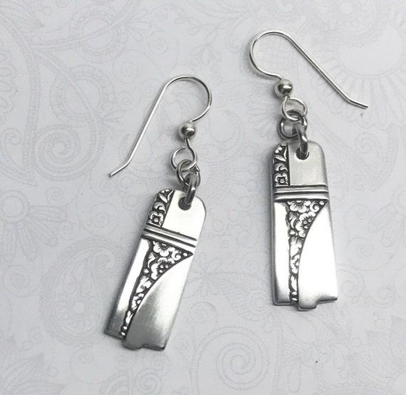 """Art Deco Dangle Spoon Earrings, Silverware Jewelry, """"Caprice"""" 1937"""
