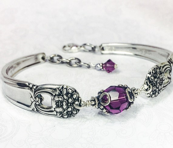 "Spoon Bracelet, Spoon Jewelry, Amethyst Swarovski Crystals, ""Eternally Yours"" 1941"