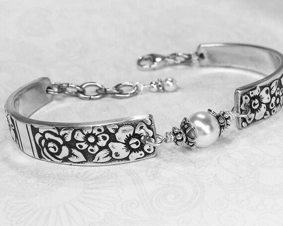 Vintage Spoon Bracelet with White Pearl, Customizable Silverware Jewelry 'Venetian Garden' 1971