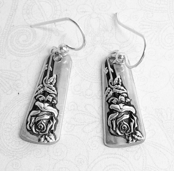Vintage Spoon Earrings, Dangle Rose Earrings, Rose Lover Gift