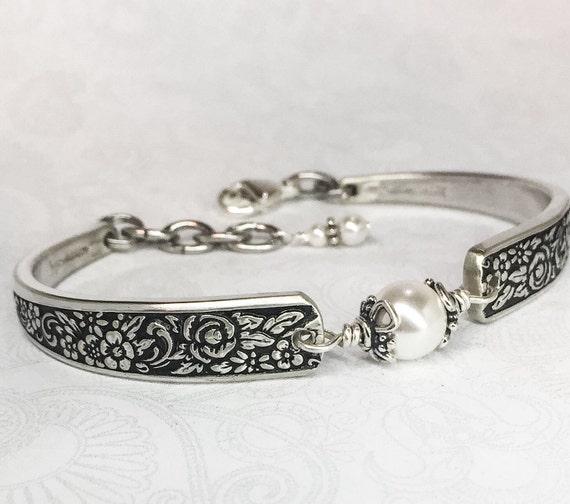 Spoon Bracelet with White Pearls, Silverware Jewelry 'Tangier' 1969