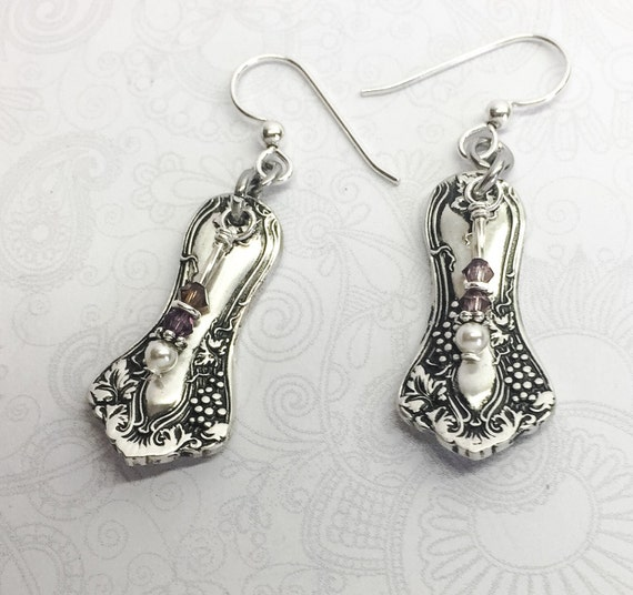 "Customizable Demitasse Spoon Earrings, Amethyst Crystals, White Pearls ""Vintage Grapes"" 1904"