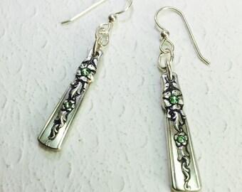 """Spoon Earrings, Peridot Crystals, """"Moss Rose"""" 1949, Dangle Earrings, Silverware Jewelry"""