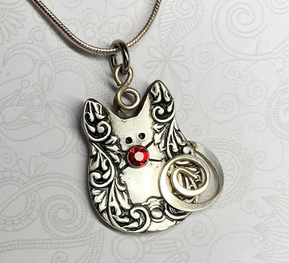 Kitty Spoon Necklace Pendant, Antique Spoon Pendant, Cat Jewelry