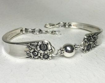 Sunflower Spoon Bracelet, Sterling Silver Beads, Silverware Bracelet, 'April' 1950