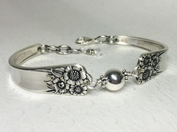 Sunflower Spoon Bracelet, Sterling Silver Bead, Silverware Bracelet, 'April' 1950