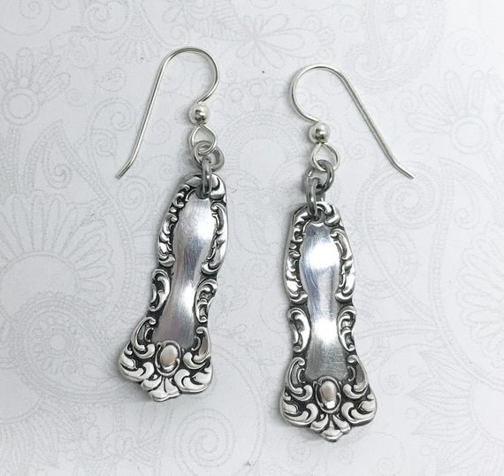 "Petite Antique Spoon Earrings, Dangle Earrings, Silverware Jewelry, ""Oxford"" 1901"
