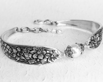 Spoon Bracelet, White Pearl, Sterling Silver Bali Bead Caps, Customizable Silverware Jewelry, 'Narcissus' 1935