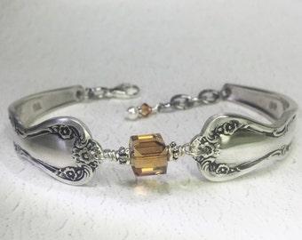 Spoon Bracelet, Topaz Swarovski Crystal, Spoon Jewelry, Birthstone Bracelet - 'Daybreak' 1952