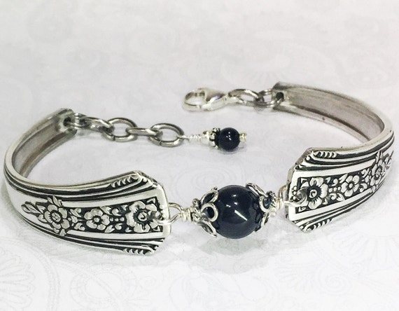 Vintage Spoon Bracelet, Spoon Jewelry, Black Onyx Gemstone 'Fortune' 1939