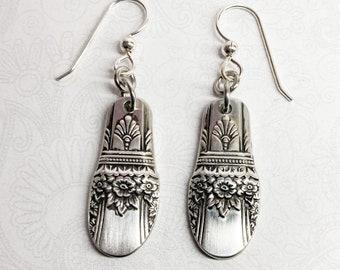 "Demitasse Spoon Earrings, Dangle Earrings, Silverware Jewelry, ""First Love"" 1937"