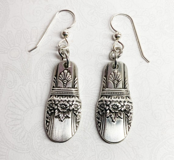 "Dangle Spoon Earrings, Silverware Jewelry, ""First Love"" 1937"