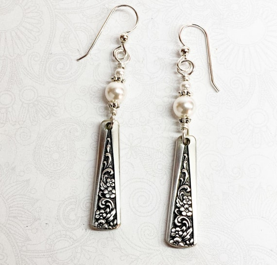 "Demitasse Spoon Earrings, White Pearls, Silverware Jewelry ""Tangier"" 1969"