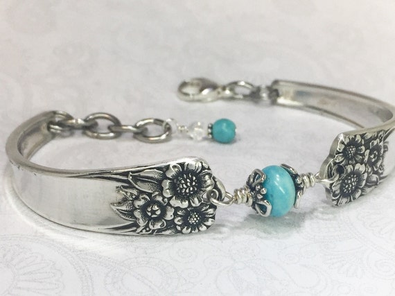 Sunflower Spoon Bracelet, Genuine Turquoise Silverware Jewelry 'April' 1950