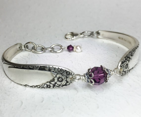 Spoon Bracelet, Amethyst Crystals, 'English Garden' 1949, Silverware Jewelry