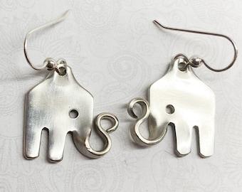 Elephant Fork Earrings, Silverware Jewelry