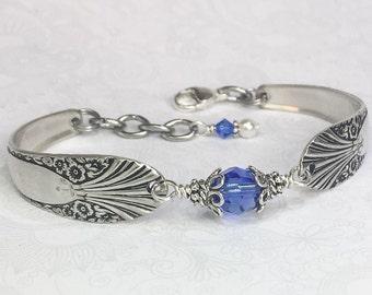 Vintage Spoon Bracelet with Sapphire Blue Crystal, Silverware Jewelry, Customizable bracelet - 'Radiance' 1939