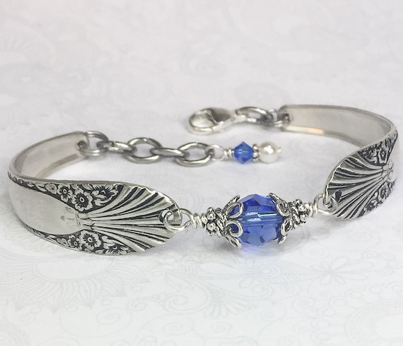 Customizable  Spoon Bracelet with Sapphire Blue Crystal, Silverware Jewelry - 'Radiance' 1939