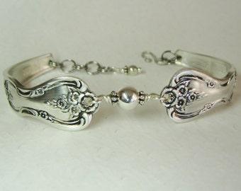 Spoon Bracelet, Sterling Silver Beads, Magnolia 1951, Silverware Jewelry