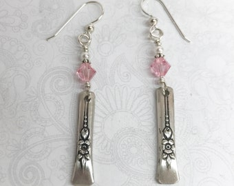 Delicate Spoon Earrings, Light Pink Crystals, White Pearls, Dangle Earrings, Silverware Jewelry