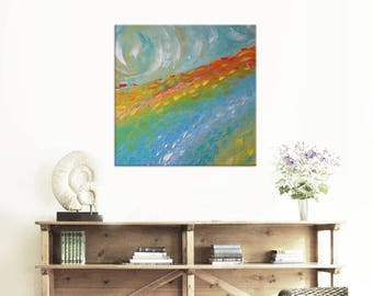 Sunrise  FREE SHIPPING Original Oil Painting on Canvas Palette Knife - by SOLOMOON - gallery fine art ready to hang impasto field